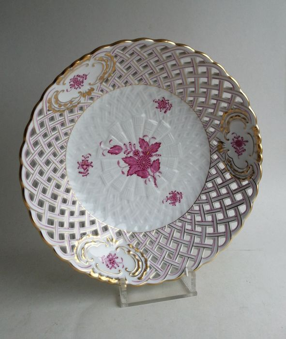 Herend - Apponyi rose purple richly decorated bowl with openwork edge 7395 / AP - Porcelain