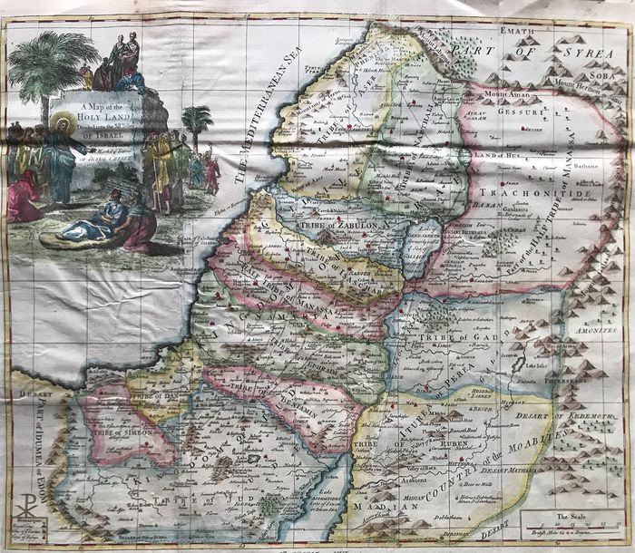 Asia, Holy Land; Emanuel Bowen - A Map of the Holy Land Divided into the XII Tribes of Israel - 1721-1750
