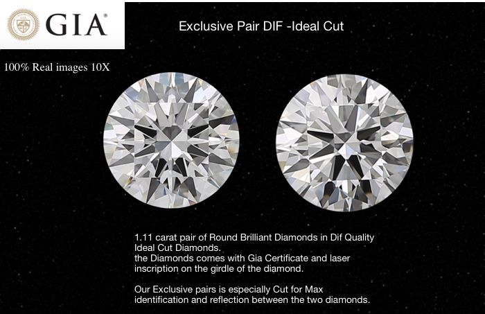 2 pcs Diamants - 1.11 ct - Brillant - D (incolore) - IF (pas d'inclusions), Pur à la loupe