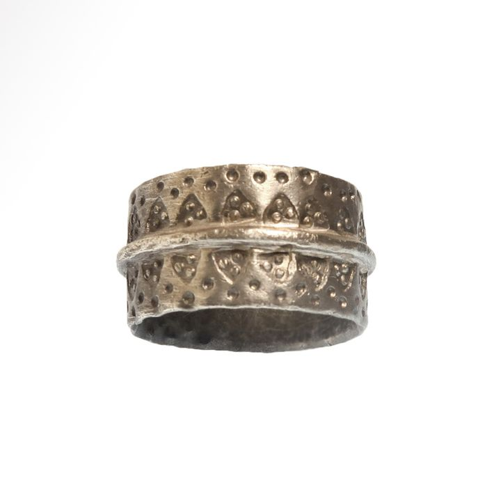 Viking Silver  Ring with Punched Decoration