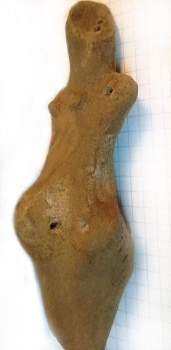 Prehistoric, Neolithic Earthenware Donau Culture Pregnant Fertility Idol (Mother Goddess Figurine), Rare Type