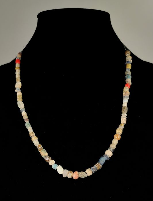 Ancient Roman Glass and Stone Necklace