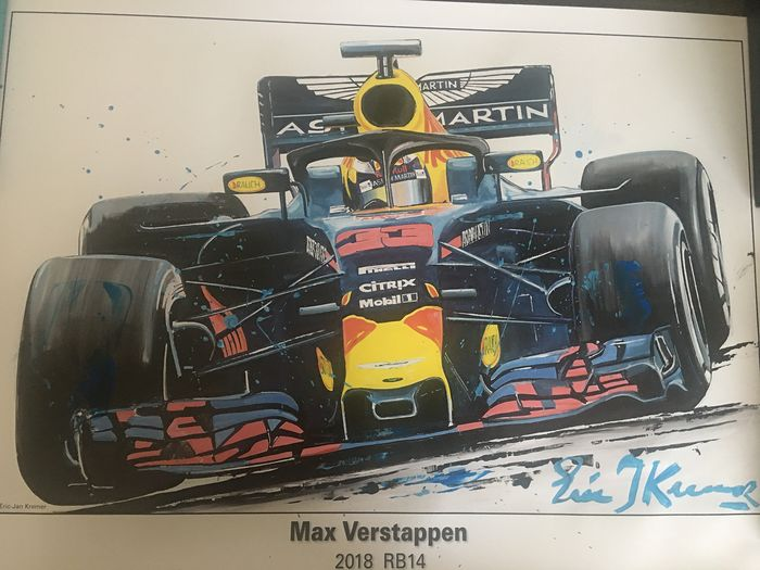 Red Bull - Formel 1 - Max Verstappen - 2018 - Grafik durch Eric Jan Kremer