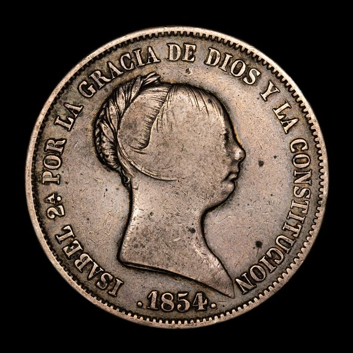 Spain - 20 Reales  - Isabel II (1833 - 1868) - Madrid - 1854  - Silver