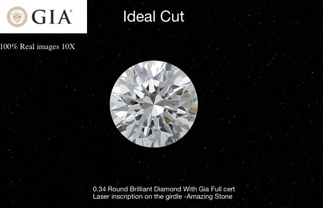 1 pcs Diamonds - 0.34 ct - Round - D (colourless) - VS1