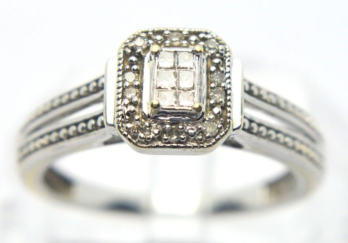 9 kt. White gold - Ring - 0.08 ct Diamonds