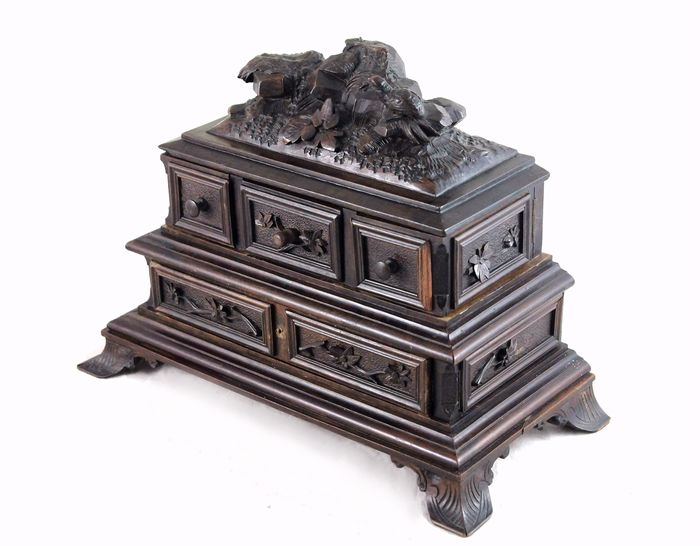 Large Hand Carved Wooden Inkwell with Quail - 1800-1830 - Wood - Early 19th century