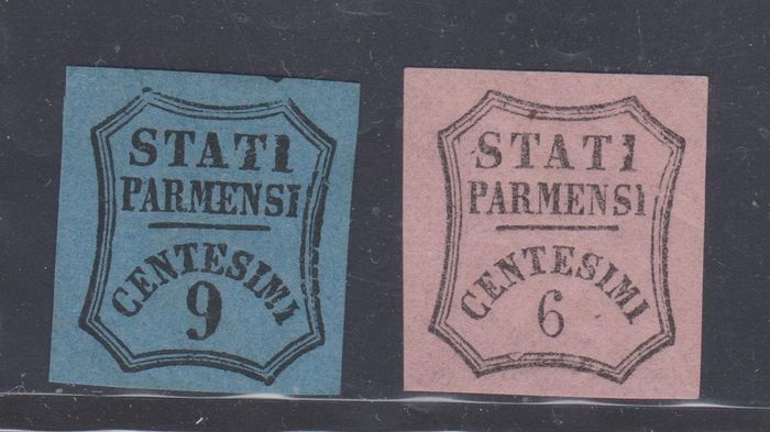 Parma 1853/1857 - Postage due 9 cents light blue (issued) and 6 cents light pink (not issued) - Sassone NN. 2 - 1A