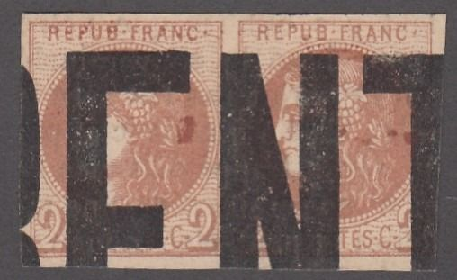 Frankreich - Bordeaux issue, 2 centimes brown-red in a pair, typographed postmark, signed Calves - Yvert 40B