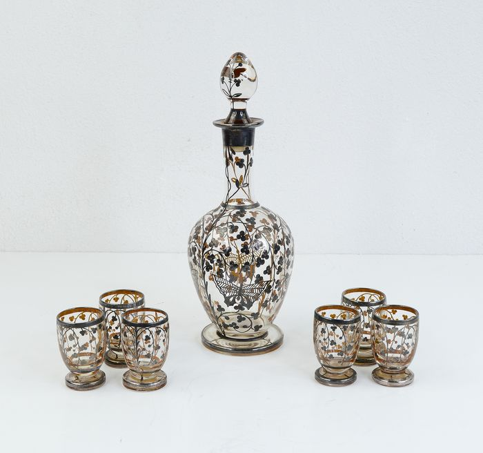 Silver 925 Bottle Set and Shot Glasses (7) - Glass - First half 20th century