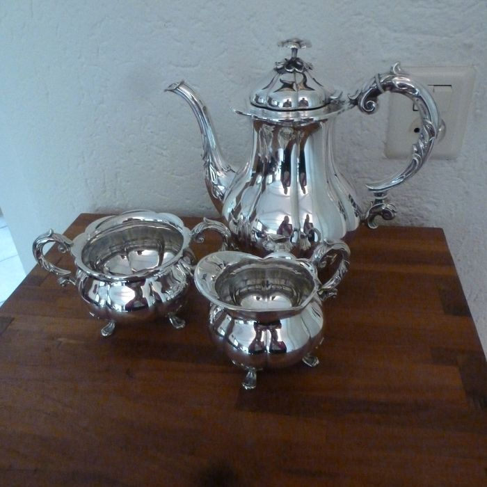 Cohr - Denmark - 3-Piece Coffee service with milk and sugar jug - Silverplate