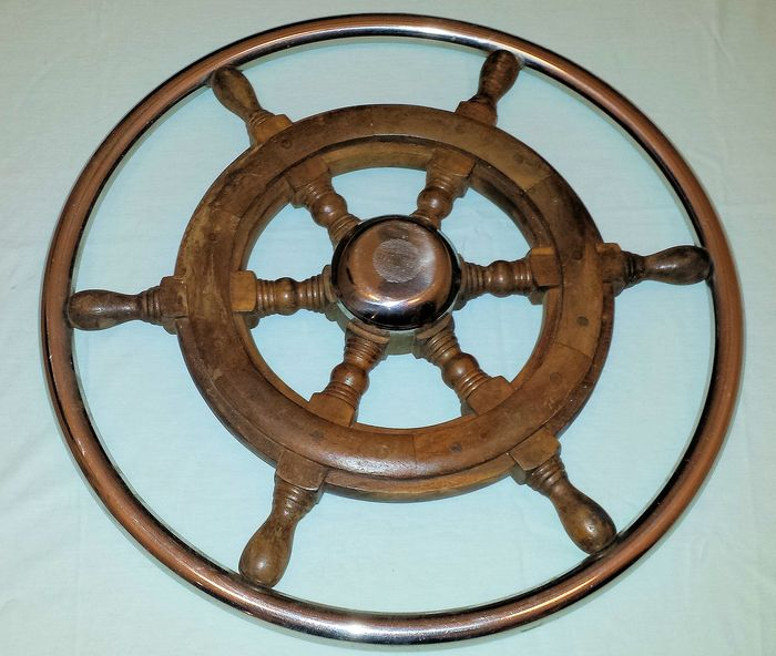 Ship's wheel (1) - Brass, Steel (stainless), Teak - Second half 20th century