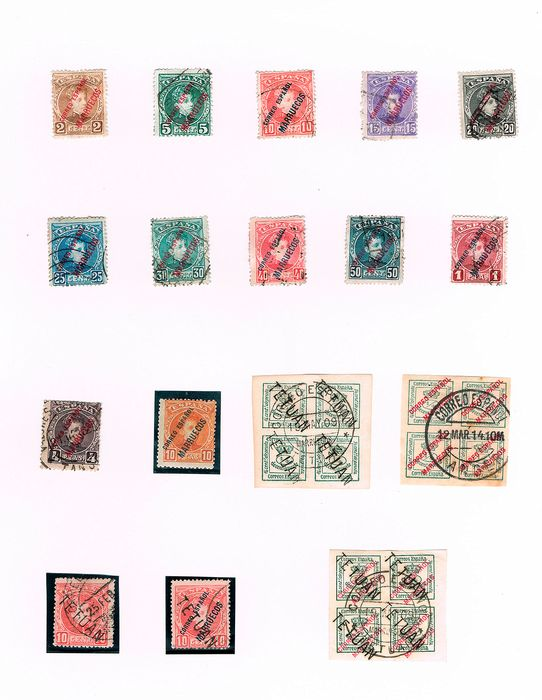 Maroc - Bureaux de poste espagnols 1910/1929 - Batch of 67 pieces including bisected stamps, blocks, key stamps... - Edifil