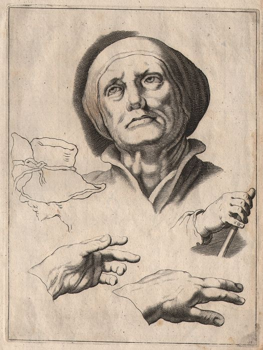 Abraham Bloemaert (1564-1651) - Study sheet with drawings of  heads and hands