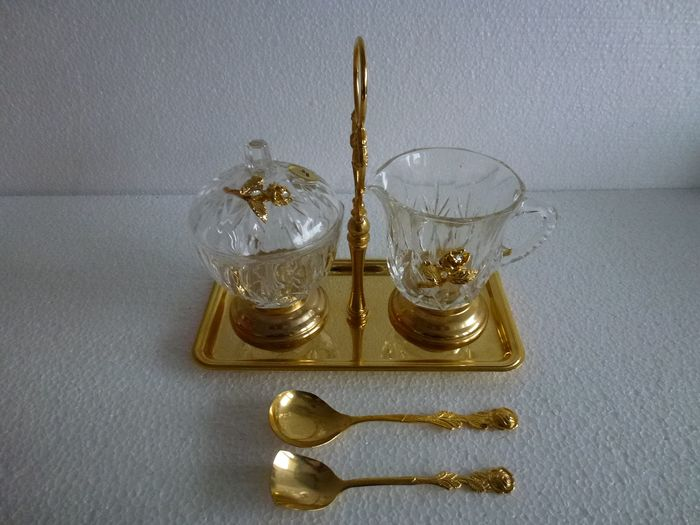 Crystal Sugar and milk set on tray complete with scoops - with rose flower decor - Crystal 24% lead and metal brass plated 24K
