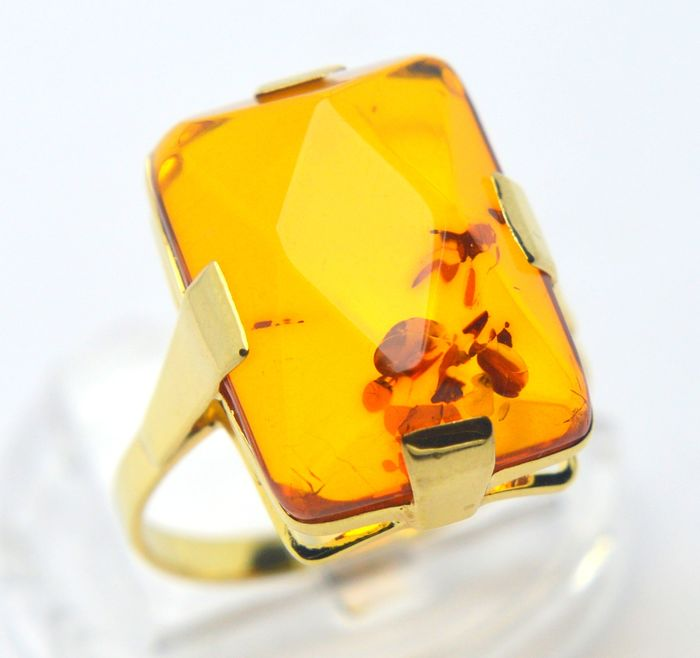 333 Ouro amarelo - Anel - 10.00 ct Amber