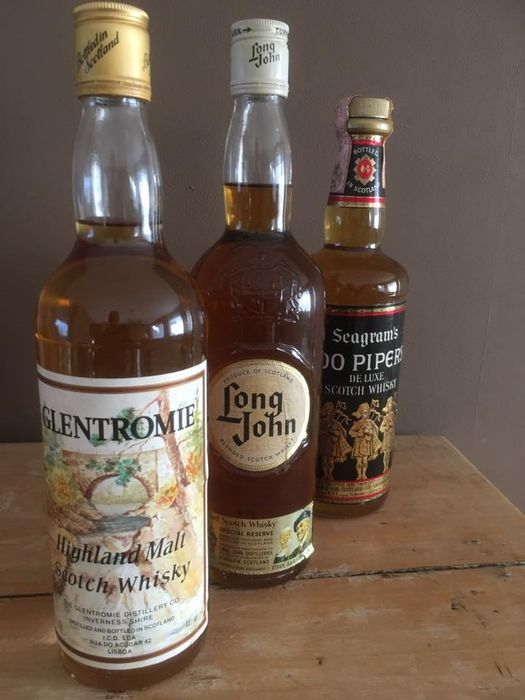 Glentromie Highland Malt - Long John special reserve- Seagram's 100 Pipers - b. 1970s to 1990s - 70cl - 75cl - 3 bottles