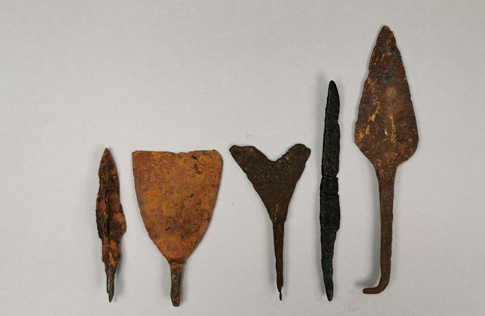 Medieval Viking Iron Collection of 5 Arrowheads