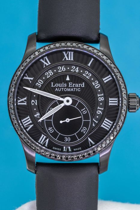 Louis Erard - 64 Black Diamonds for 0.76 Carat Cabochon Sapphire Automatic Emotion Collection Black Swiss Made - 92601NS22.BDS94 - Donna - BRAND NEW