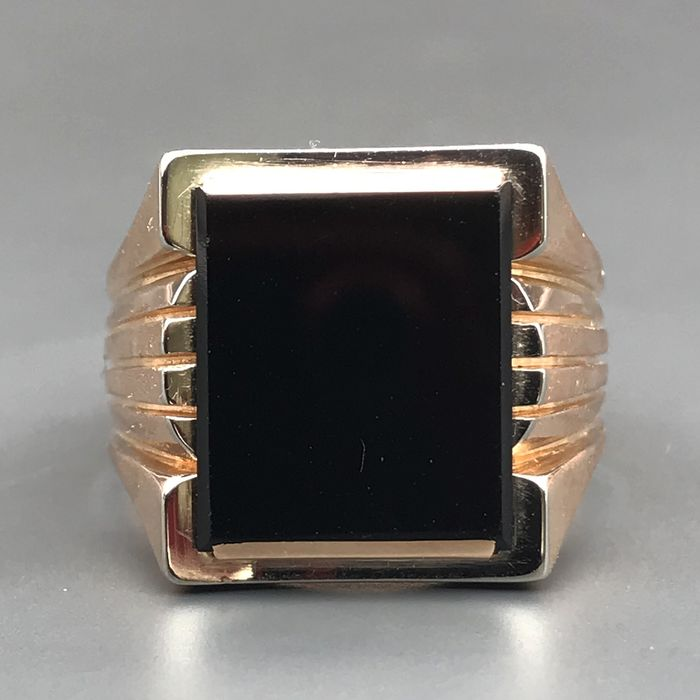 18 kt. White gold, Yellow gold - Ring Onyx