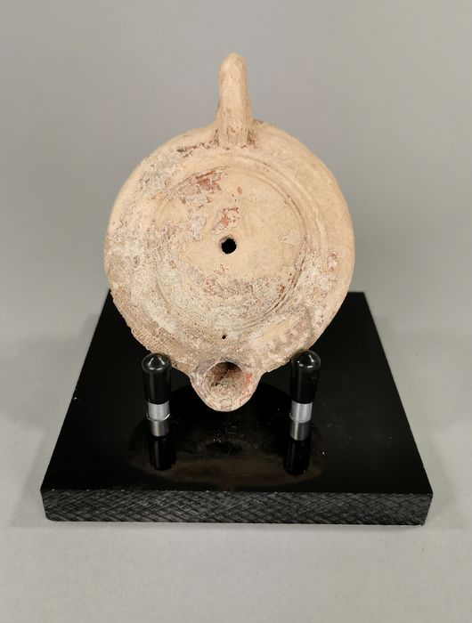 Ancient Roman Terracotta Oil Lamp with Custom Made Stand