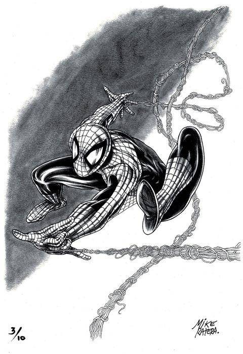 Spiderman in Action - Limited Giclée Edition 3/10 - Mike Ratera Signed - First edition