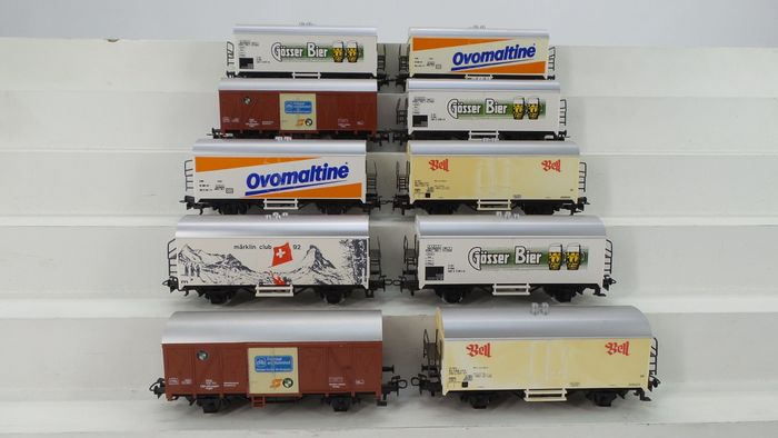 Märklin H0 - o.a. 4535/4567/4412/4428 - Freight carriage - 10 special refrigerated trucks with different advertising inscriptions - ÖBB, SBB