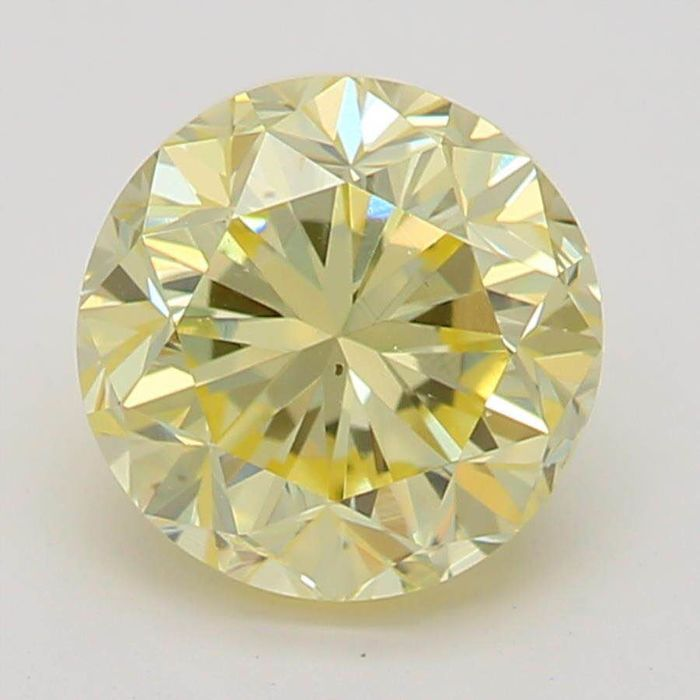 1 pcs Diamond - 1.02 ct - Round - fancy light yellow - Not mentioned on certificate