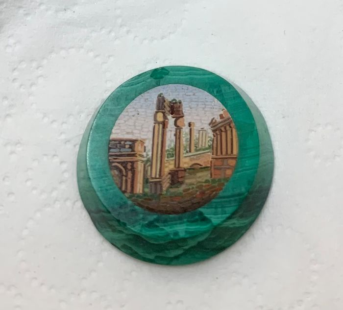 micromosaic plaque (1) - Glass (stained glass), Malachite - Late 19th century