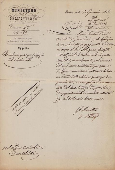 Urbano Rattazzi Politic - Autograph; Document for Payment of Office Expense, from Turin - 1856