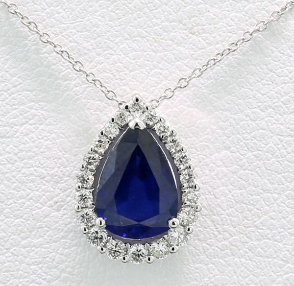 18 kt. White gold - Necklace with pendant - 1,40 ct Sapphire very nice rich blue + brilliant cut diamonds --- No reserve price