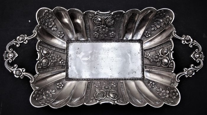 Large Antique Rectangular Centerpiece Bowl - Silverplate