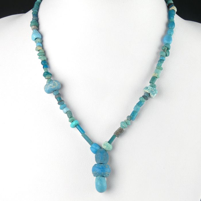 Ancient Roman Glass Necklace with turquoise glass beads - 43 cm