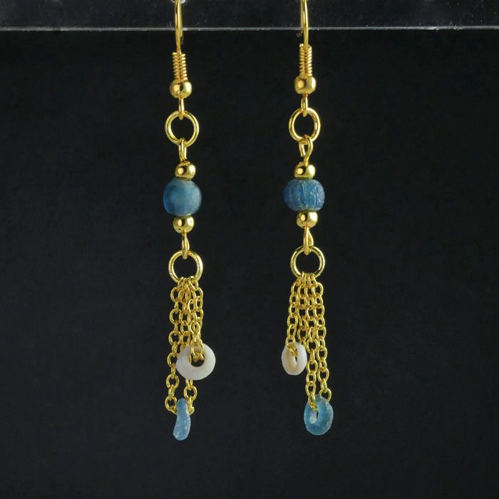 Ancient Roman Glass Earrings with blue glass and shell beads - 63.5 mm