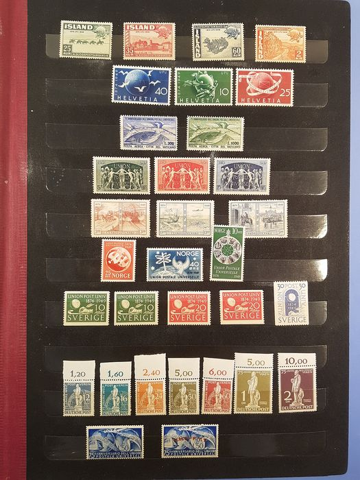 World 1949 - Complete collection of stamps issued for the 75th anniversary of the UPU