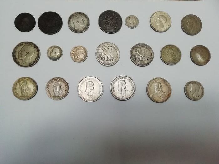 World - Lot various coins 1876/1970 (20 pieces)