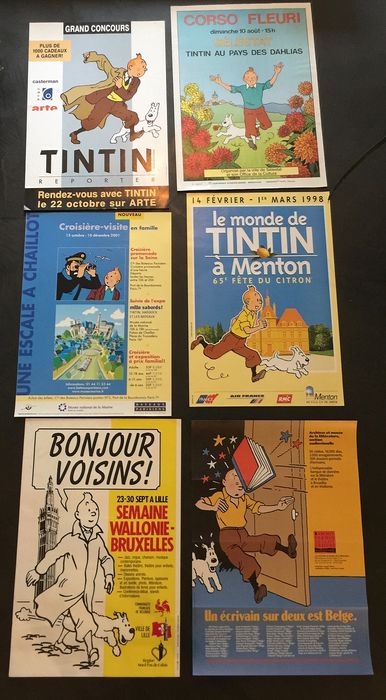 Tintin - Lot de 6 affiches
