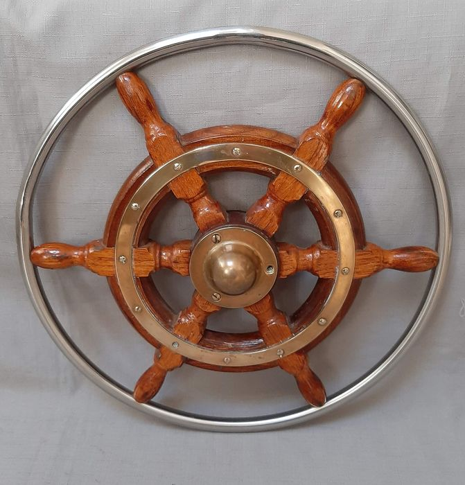Steering wheel with stainless steel rim - Steel (stainless), Wood - Second half 20th century