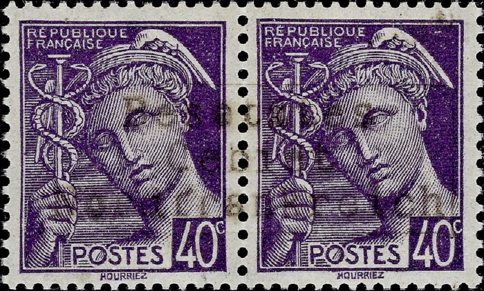 Germany - Local postal areas 1940 - Mercure, 40 centimes dark purple overprint  type II (Coudekerque-Branche) - Michel 1 II