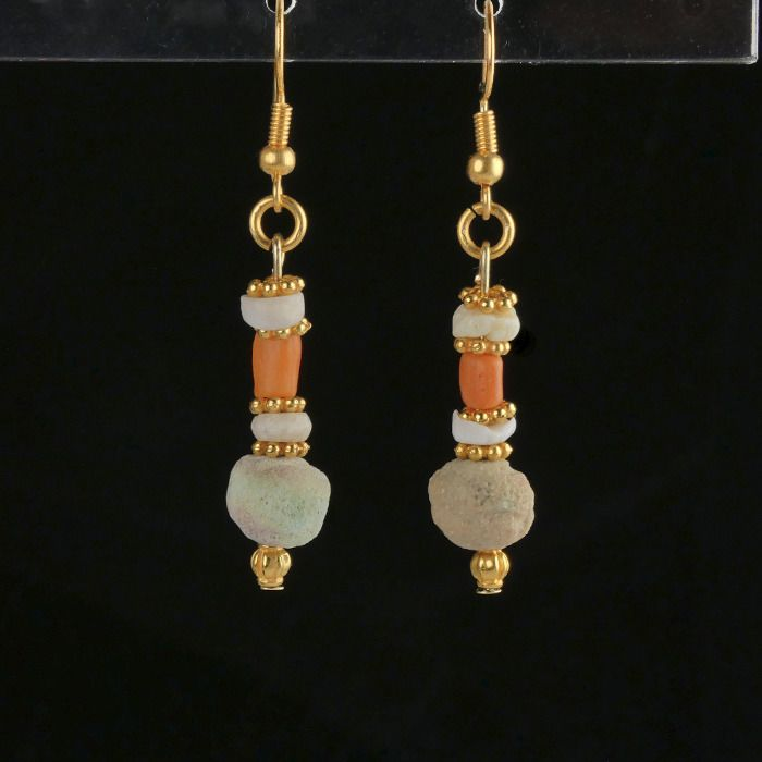 Ancient Egyptian Faience Earrings with faience, coral and shell beads