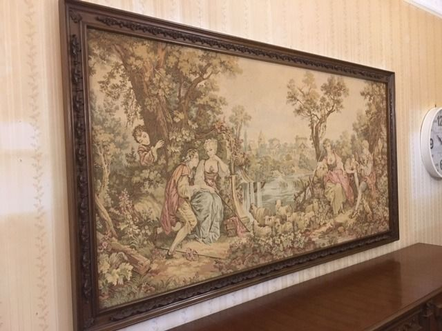 Classical tapestry, Figural tapestry, Historical tapestry, Landscape tapestry (1) - Textiles, Wood - Second half 20th century