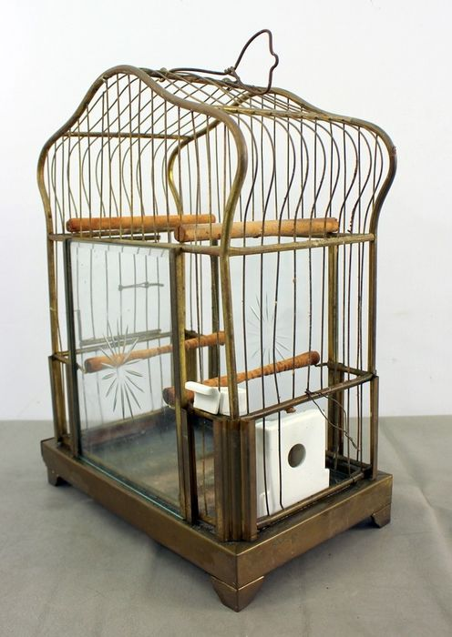 Antique bird cage with porcelain food bowls - Copper, Glass