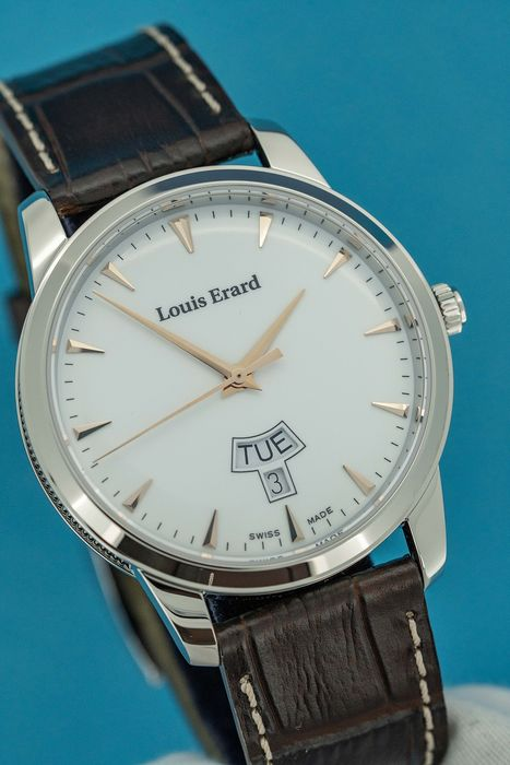 "Louis Erard - Heritage Collection Steel with Brown Strap Swiss Made - ""NO RESERVE PRICE"" 15920AA10.BEP101 - Miehet - Brand New"