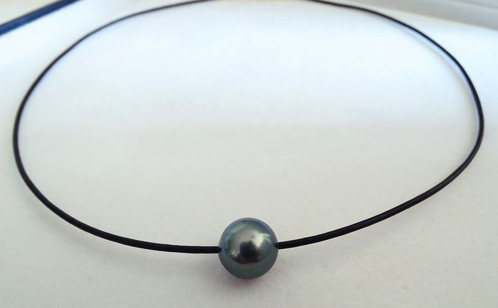 NO RESERVE PRICE - FedEx DELIVERY - Tahitian pearl, True Teal Blue 11.12 mm - Necklace, Leather Choker