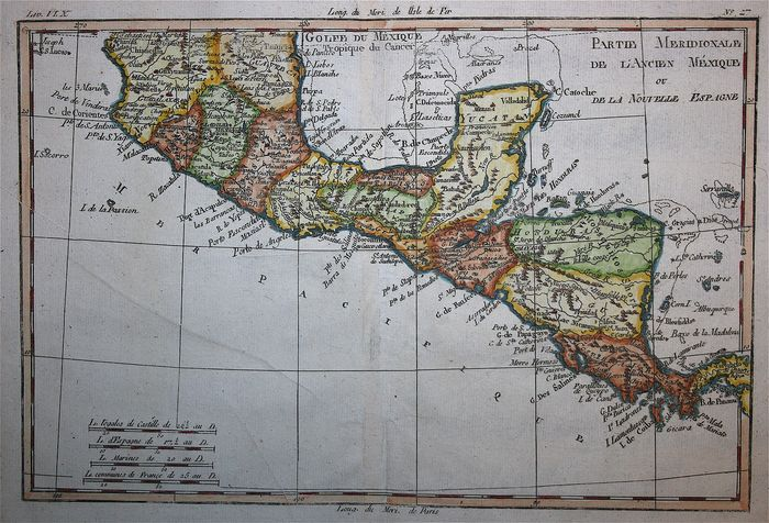 Middle America and Caribbean, South Mexico, Guatemala, El Salvador, Costa Rica, Belize, Honduras, Nicaragua, Panama; Bonne  - Partie Meridionale de l'Ancien Mexique ou de la Nouvelle Espagne - 1780