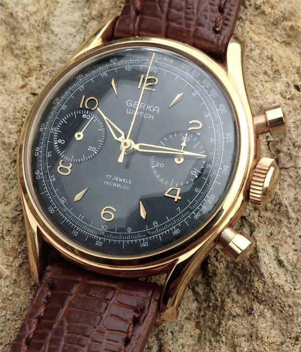 Chronographe Suisse Gerka Watch - Venus 188-Jumbo-NO RESERVE PRICE - Homem - 1960-1969
