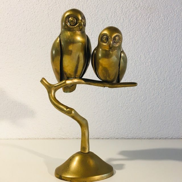 Owls on branch - Art Deco - Copper