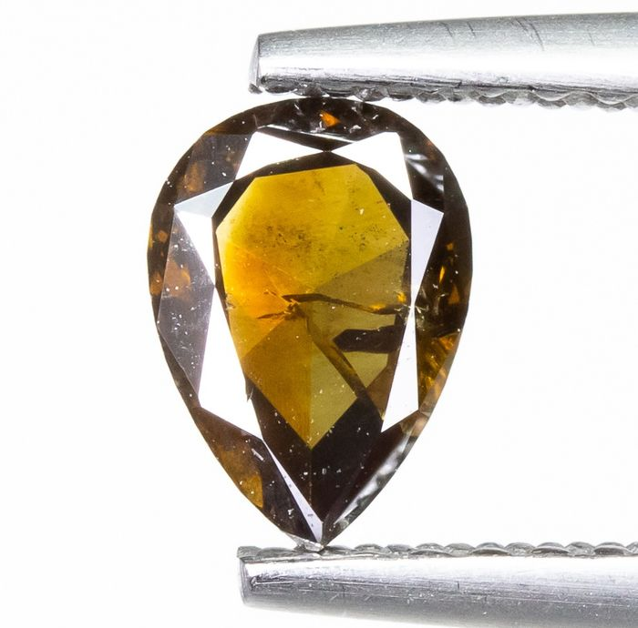 Diamond - 0.46 ct - Natural Fancy DEEP Yellowish Brown - I1  *NO RESERVE*