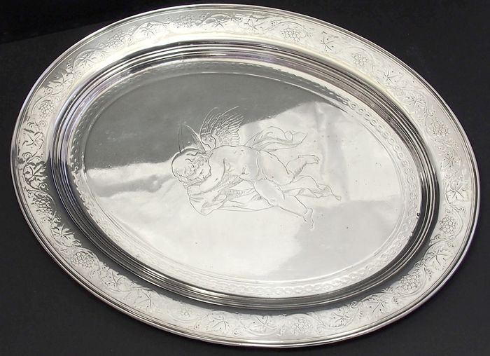 Oval Tray With Cherub Design By Hans Christian Drewsen - Neoclassical Style