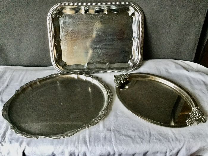 Beautiful silver-plated (Silverplate) 3 trays, or different models (3) - Silverplate